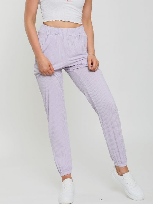 Lianna Ribbed Cuffed Jogger Trousers In Lilac