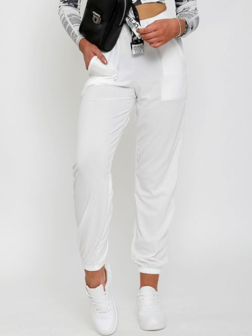 Lianna Ribbed Cuffed Jogger Trousers In Cream