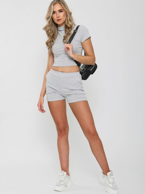 Dean High Neck Crop Top & Shorts Co-ord In Grey