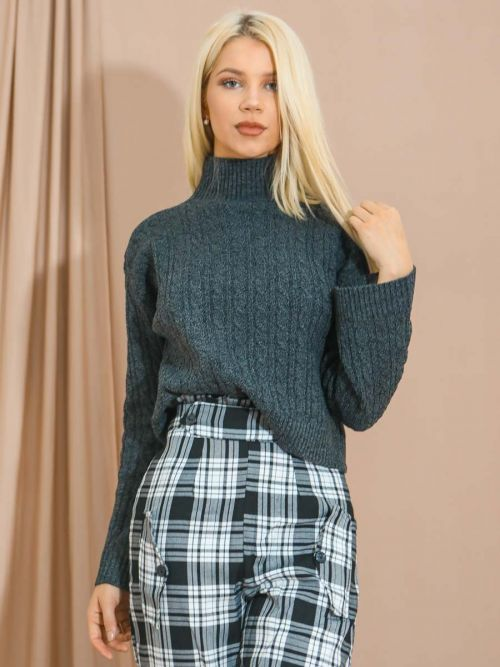Kristen High Neck Cable Knit Top In Charcoal