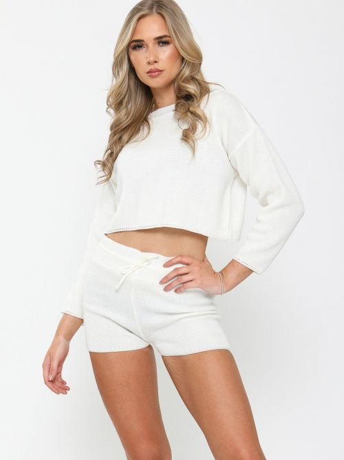 Jayne Knitted Crop Top & Shorts Lounge Set In Cream