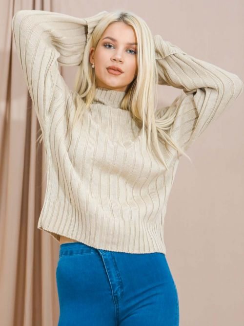 Karlie Turtle Neck Knitted Jumper In Stone