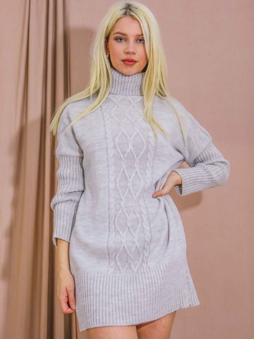 Nia Cable Knit Panel Jumper Dress In Stone
