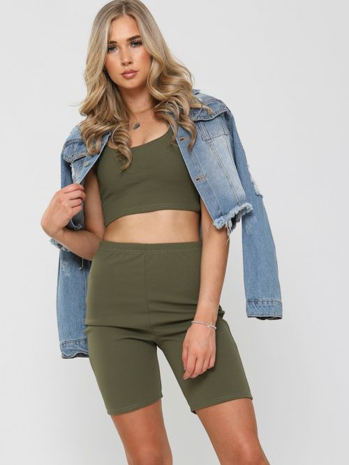 Liza Crop Top & Cycling Shorts Co-ord In Khaki