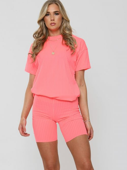 Millie Ribbed Oversized T-Shirt & Shorts Co-ord In Pink
