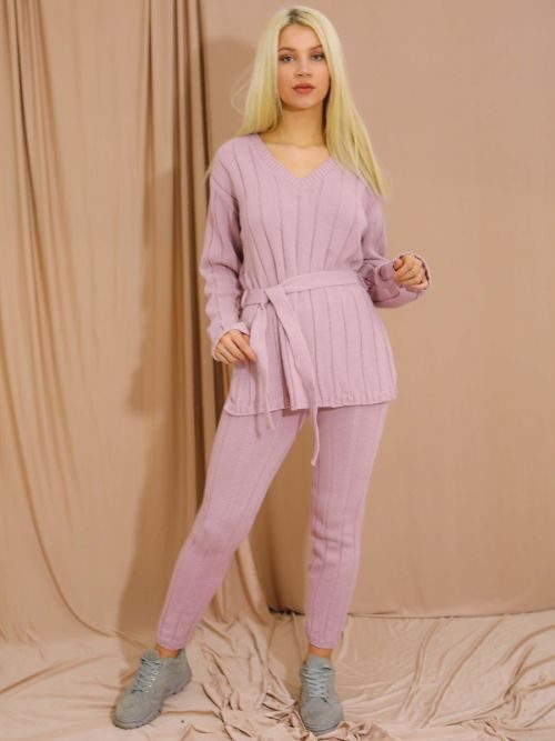 Sammie Ribbed Knitted Belted Loungewear Set In Rose Gold