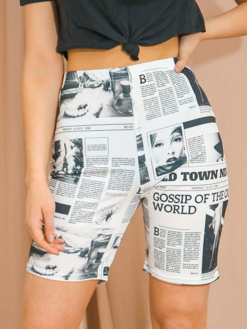 Morgan Newspaper Print Cycling Shorts In White
