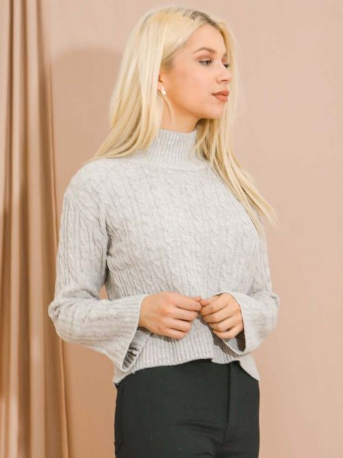 Kristen High Neck Cable Knit Top In Stone