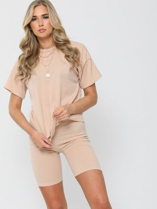 Millie Ribbed Oversized T-Shirt & Shorts Co-ord In Stone