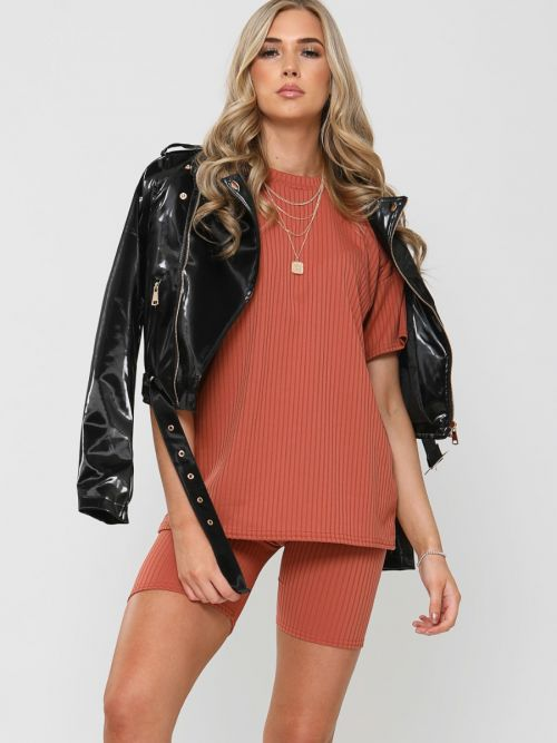 Millie Ribbed Oversized T-Shirt & Shorts Co-ord In Rust