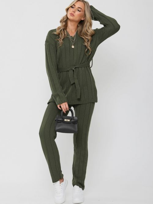 Sammie Ribbed Knitted Belted Loungewear Set In Khaki