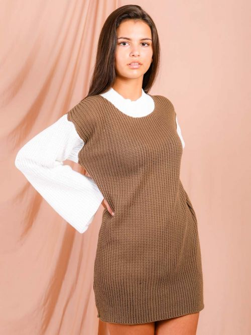 Kim Contrast Sleeve Knitted Jumper Dress In Brown