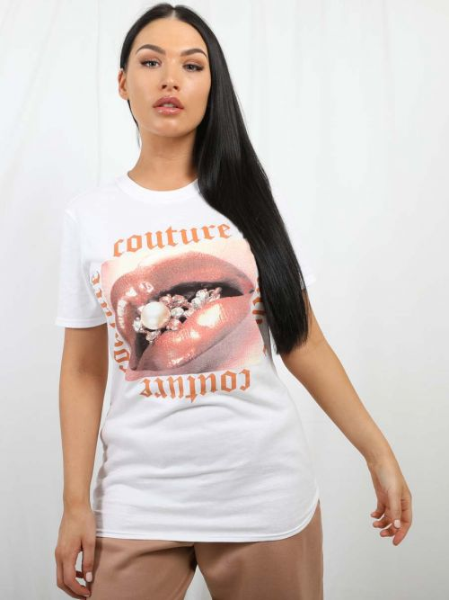 Tina Couture Lip Graphic T- Shirt In White