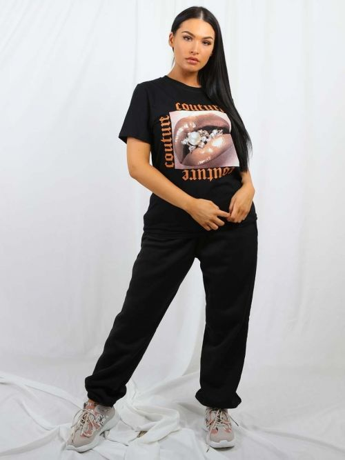 Tina Couture Lip Graphic Printed T-Shirt In Black
