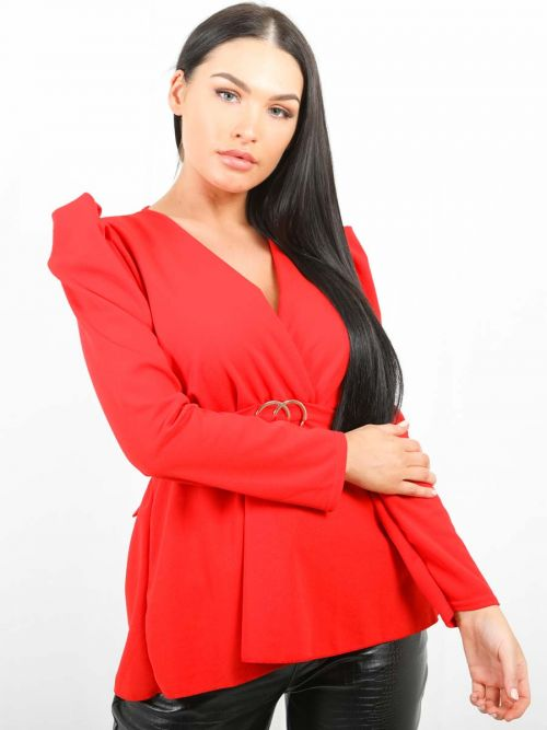 Debbie Double Ring Wrap Front Belted Top In Red