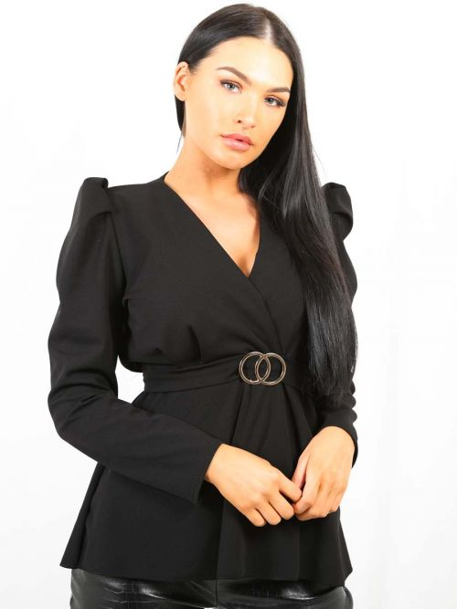 Debbie Double Ring Wrap Front Belted Top In Black
