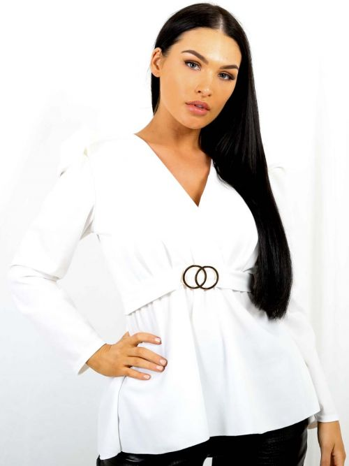 Debbie Double Ring Wrap Front Belted Top In White
