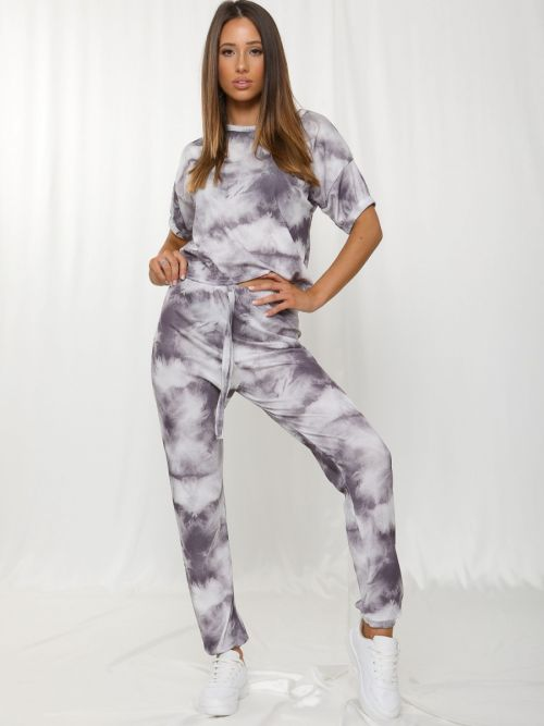 Kaisa Tie-Dye Elasticated Sleeve Ribbed Boxy Co-ord In Grey