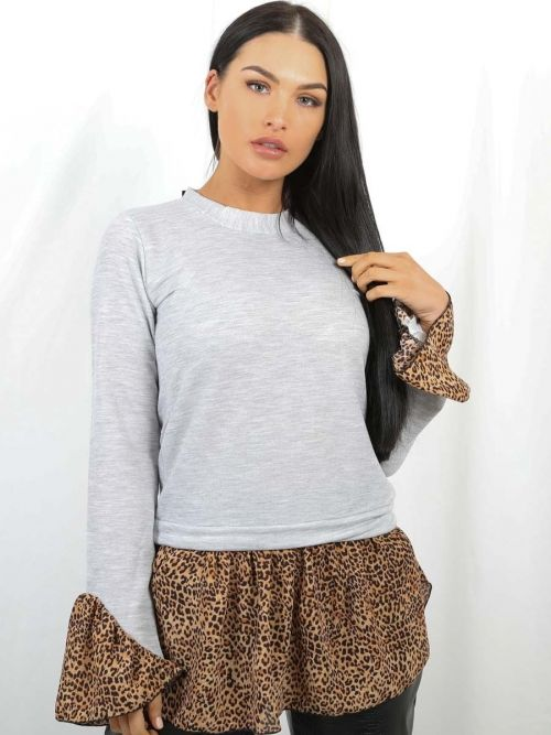 Ellis Leopard Print Hem Shirt Detail Top in Grey