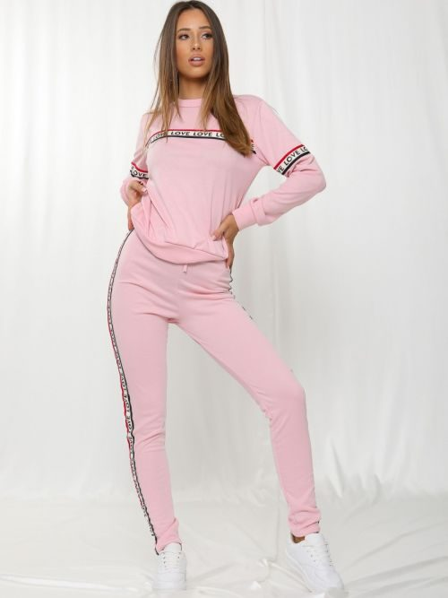 Simi Love Slogan Tape Loungewear Set In Pink