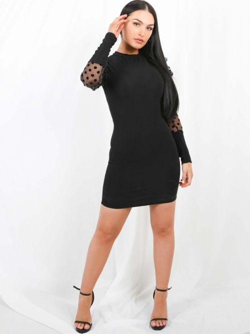 Stefanie Polka Puff Organza Sleeve Bodycon Dress In Black
