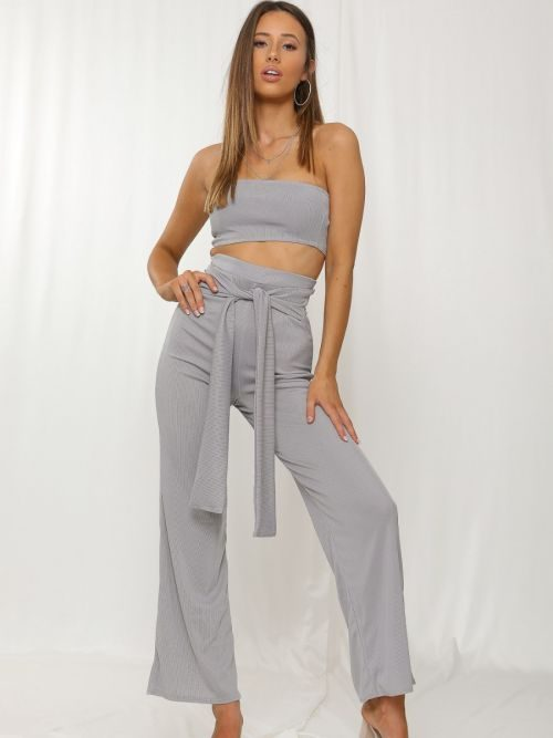 Chaima Ribbed Bandeau Crop Top & Tie Knot Trouser Co-ord In Grey