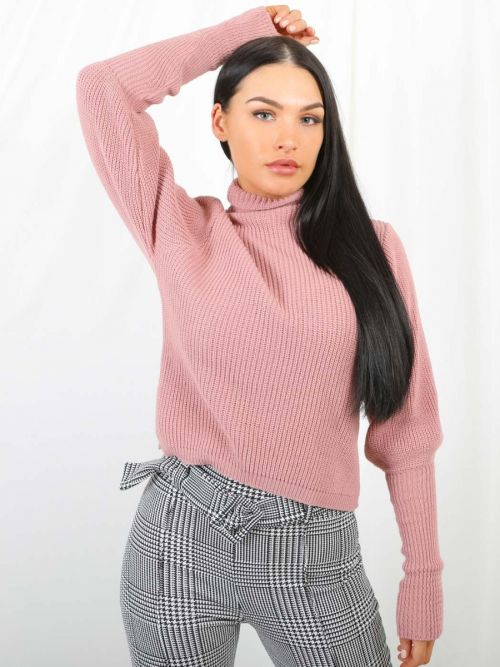 Winona Balloon Sleeve High Neck Knitted Jumper In Rose Gold