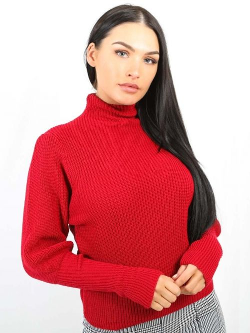 Winona Balloon Sleeve High Neck Knitted Jumper In Red