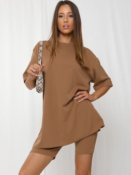 Donika Oversized T-Shirt & Shorts Co-ord In Camel
