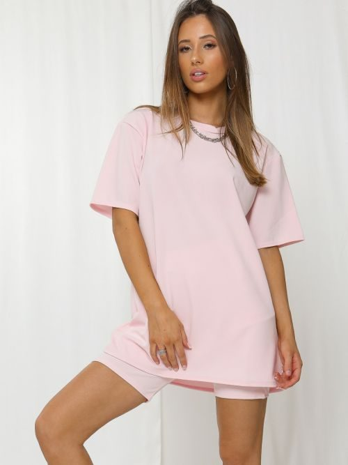 Donika Oversized T-Shirt & Shorts Co-ord In Pink