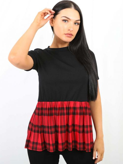 O'Hara Tartan Check Print Frill Hem Top In Red