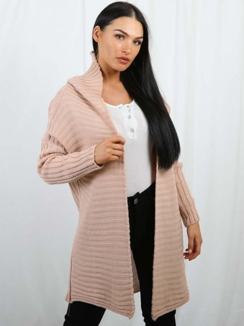 Penny Pom Pom Hood Ribbed Knitted Cardigan In Rose Gold