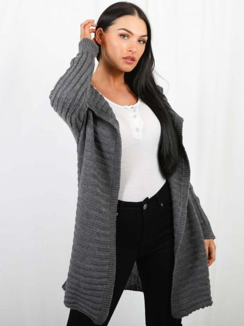 Penny Pom Pom Hood Ribbed Knitted Cardigan In Charcoal