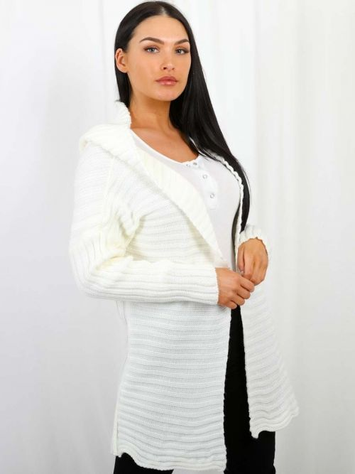 Penny Pom Pom Hood Ribbed Knitted Cardigan In Cream