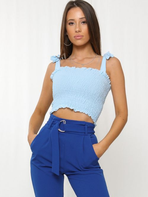 Shaylee Shirred Strappy Crop Top In Blue