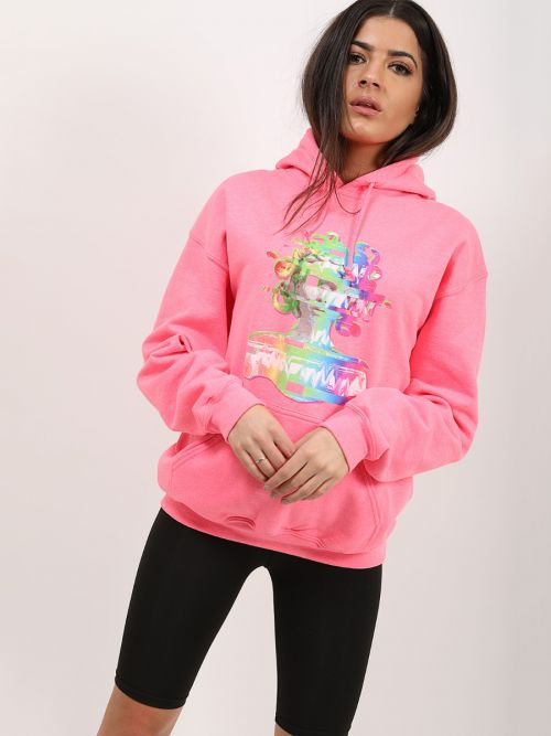 Mariah Distorted Graphic Fleeced Hoodie In Neon Pink