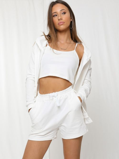Kasey 3 Piece Hooded Co-ord Set In Cream