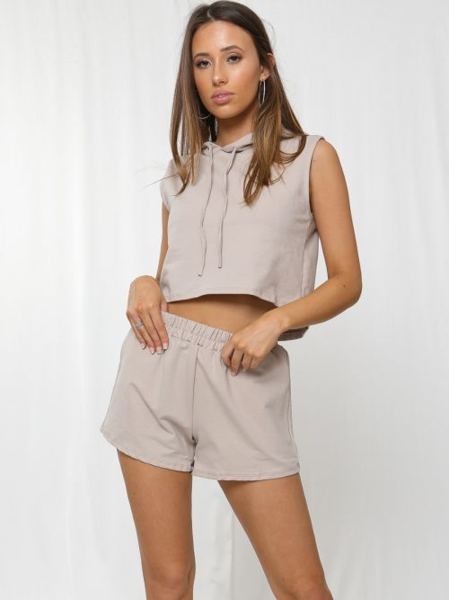 Rosie Boxy Hooded Crop Top & Shorts Loungewear Co-ord In Stone