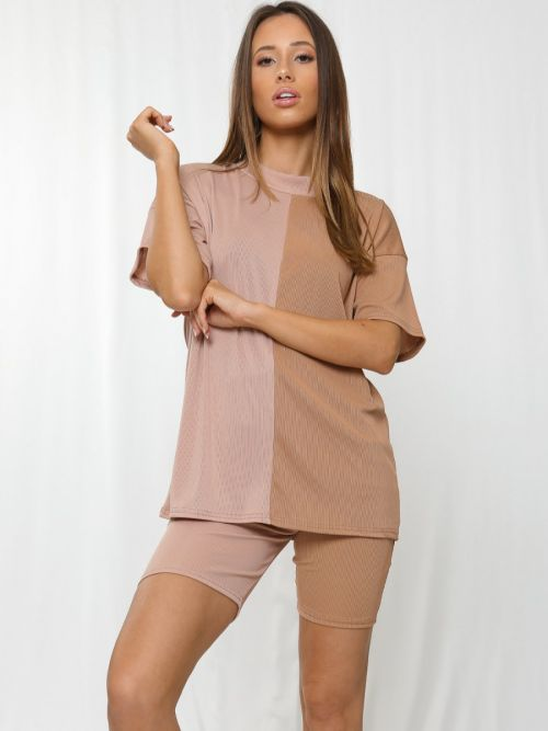Charlee 50/50 Ribbed Oversized T-Shirt & Shorts Co-ord In Stone