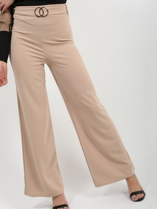 Ayleen Double Ring Belted Wide Leg Trouser In Stone