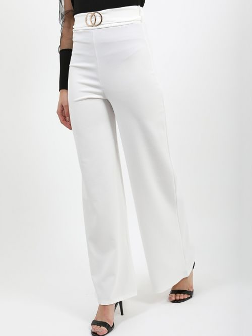 Ayleen Double Ring Belted Wide Leg Trouser In Cream