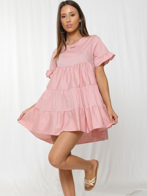 Cherelle Frill Detail Tiered Smock Dress In Pink