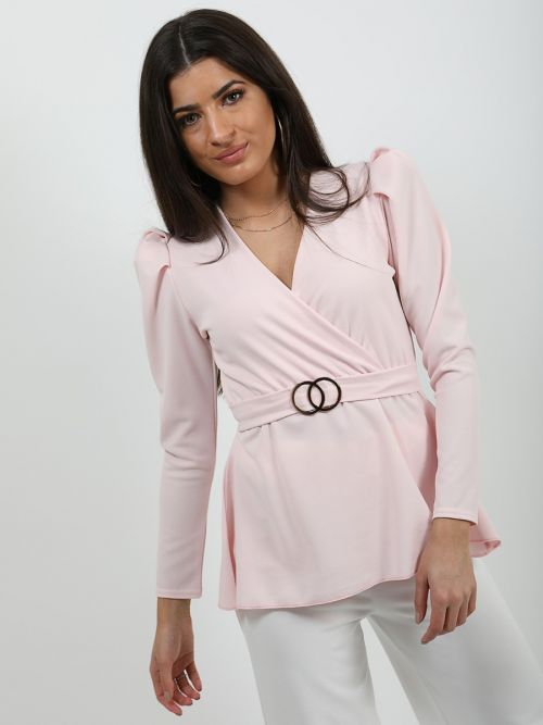 Debbie Double Ring Wrap Front Belted Top In Pink