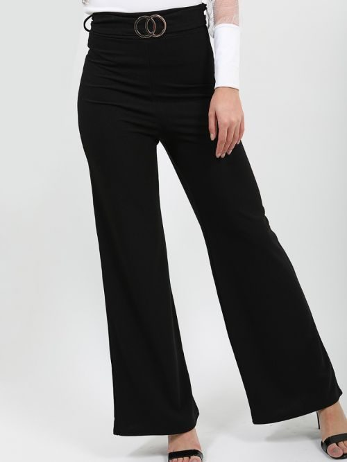 Ayleen Double Ring Belted Wide Leg Trouser In Black