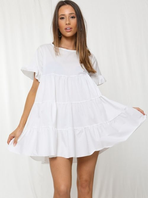 Cherelle Frill Detail Tiered Smock Dress In White