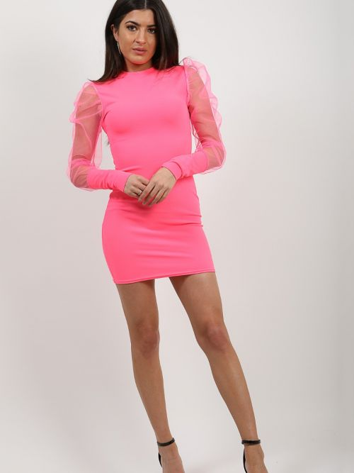 Alia Fishnet Sleeve Bodycon Dress In Pink