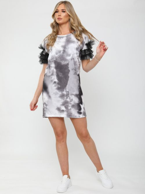 Fay Tie-Dye Frill Mesh Sleeve Dress In Black