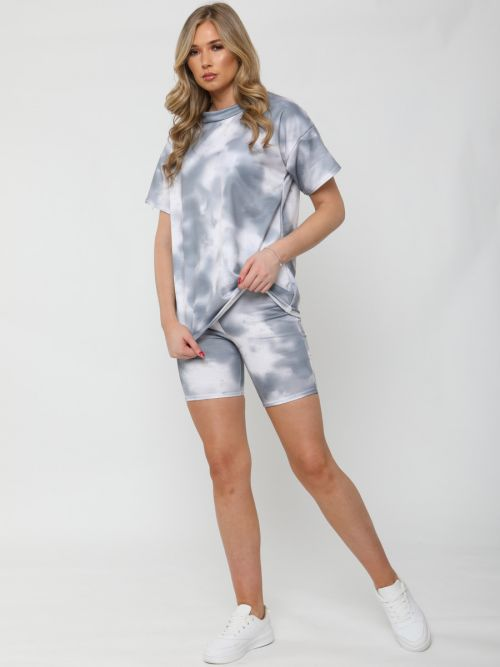 Jude Tie Dye Oversized T-Shirt & Shorts Co-ord In Grey