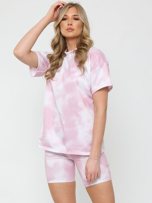 Jude Tie Dye Oversized T-Shirt & Shorts Co-ord In Pink
