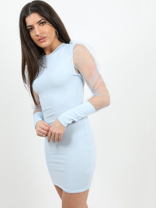 Alia Fishnet Sleeve Bodycon Dress In Blue